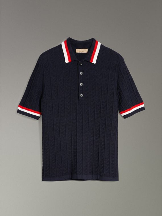 Stripe Detail Cable Knit Wool Polo Shirt in Navy - Men | Burberry United Kingdom - cell image 3
