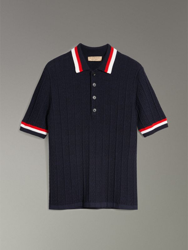 Stripe Detail Cable Knit Wool Polo Shirt in Navy - Men | Burberry Singapore - cell image 3