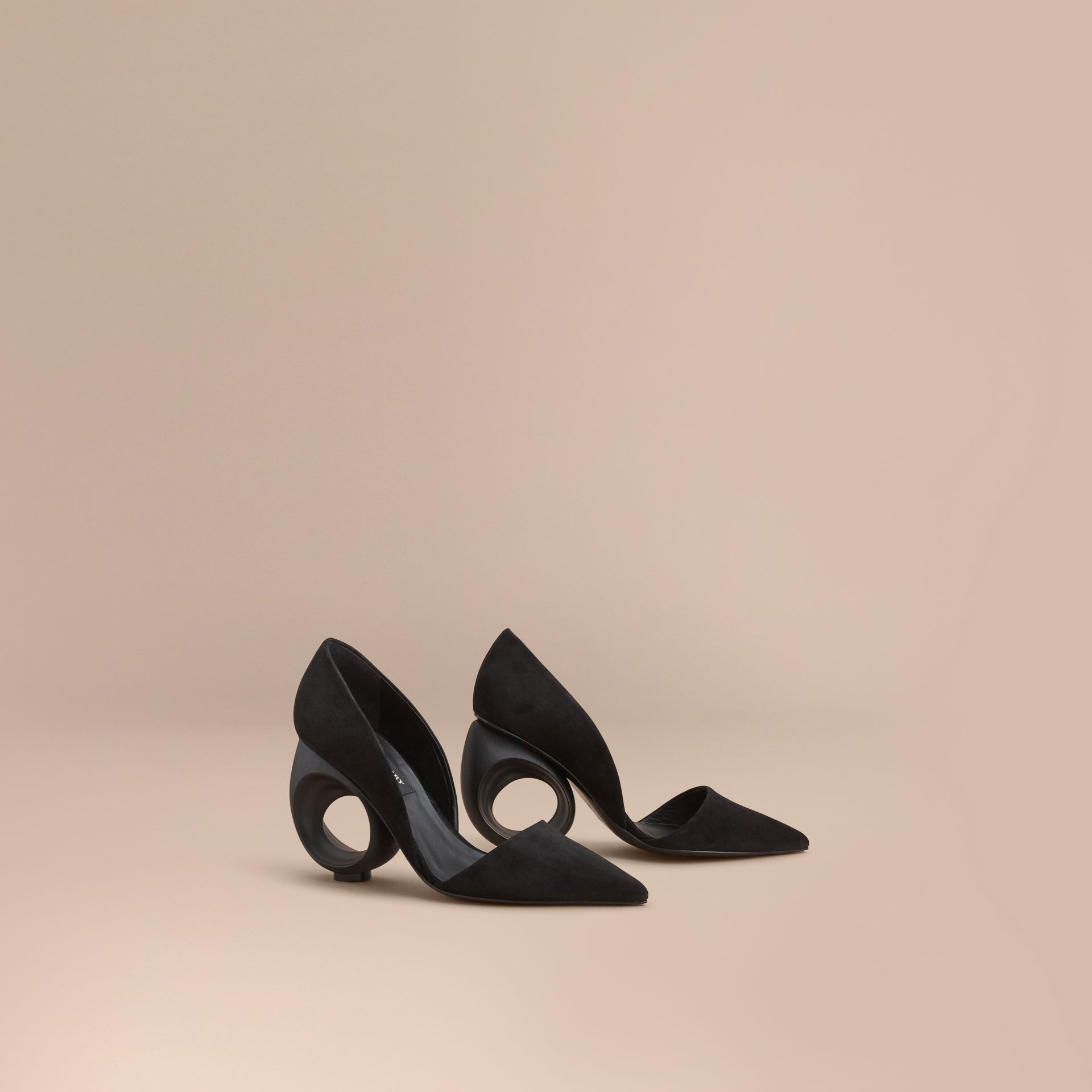 Sculpted Heel Suede Pumps in Black - Women | Burberry - gallery image 0