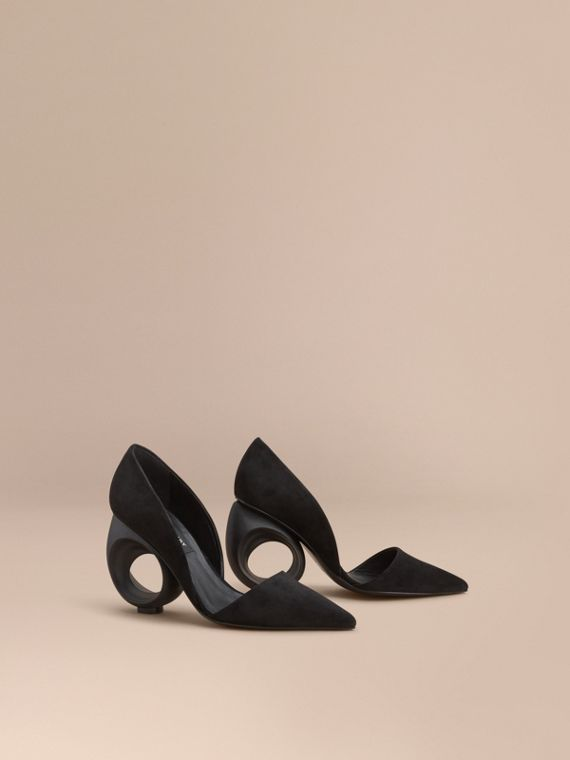Sculpted Heel Suede Pumps
