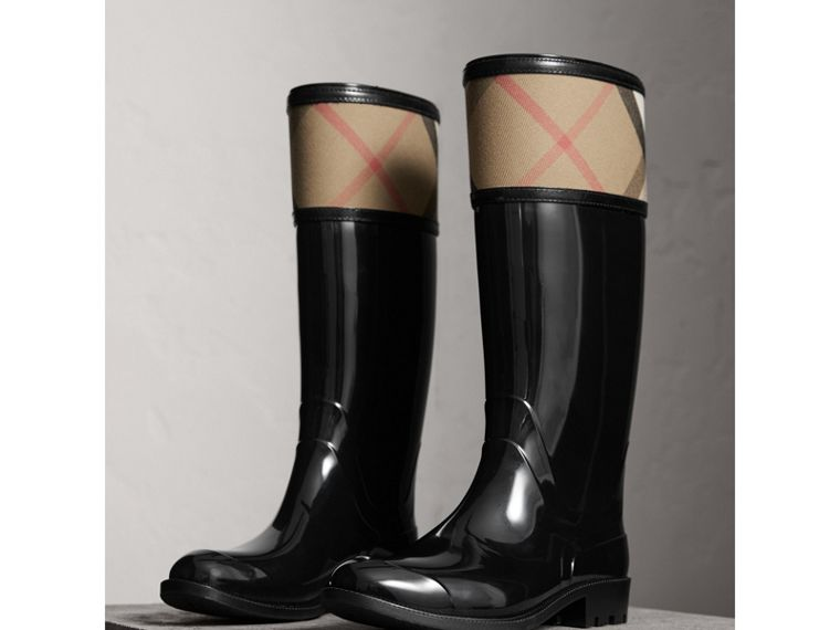 House Check Rain Boots in Black - Women | Burberry - cell image 4
