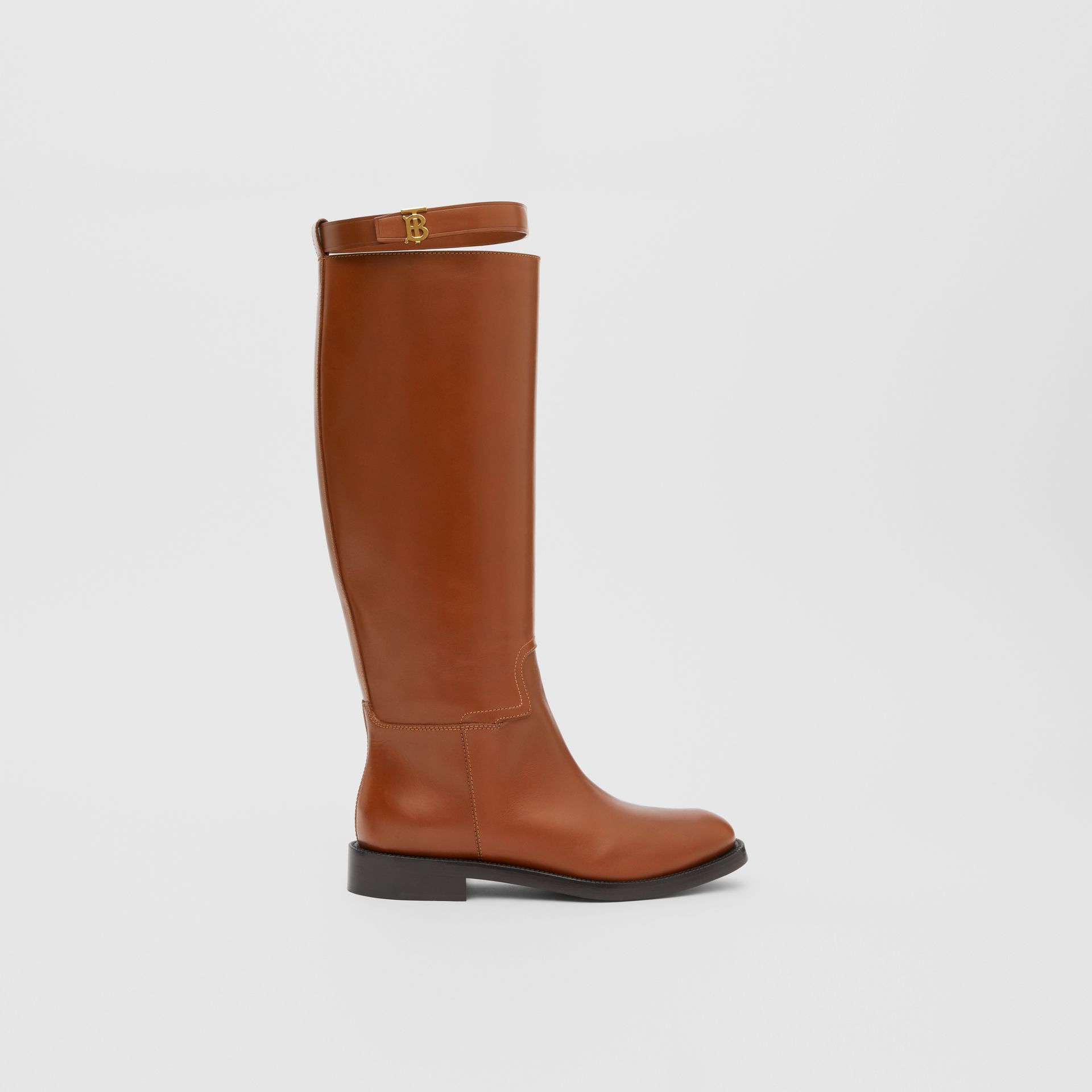 Monogram Motif Leather Knee-high Boots in Tan - Women | Burberry United Kingdom - gallery image 4