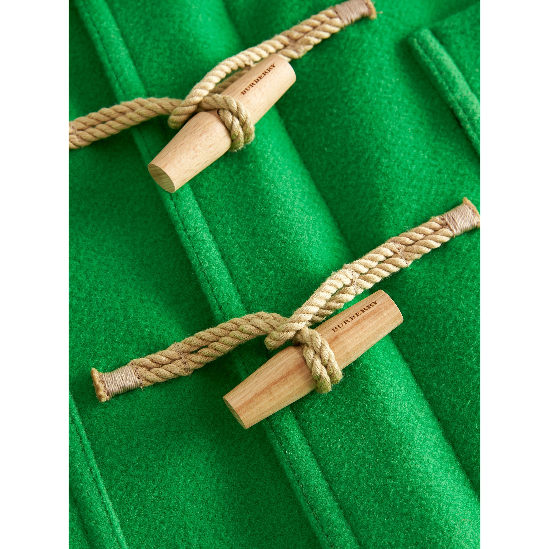Double-faced Wool Duffle Coat in Bright Grass Green | Burberry - gallery image 1