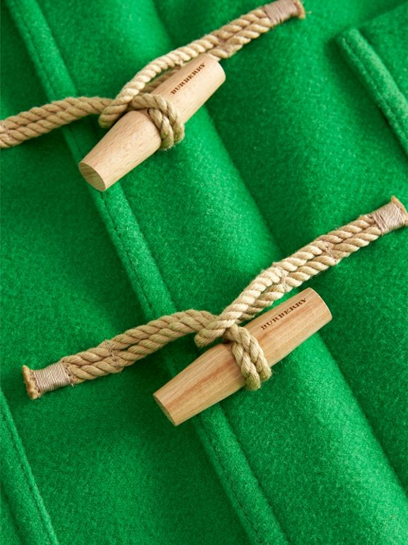 Double-faced Wool Duffle Coat in Bright Grass Green | Burberry Australia - cell image 1