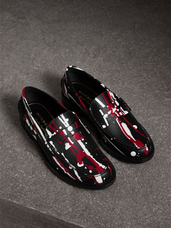 Splash Print Leather Penny Loafers in Fuchsia