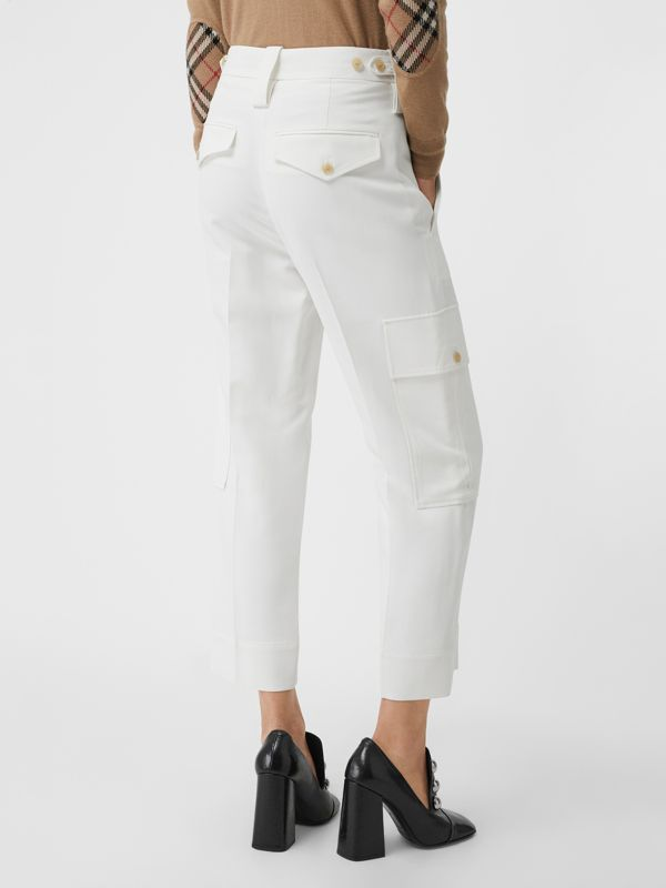 Straight Fit Silk Wool Cargo Trousers in Natural White - Women | Burberry - cell image 2