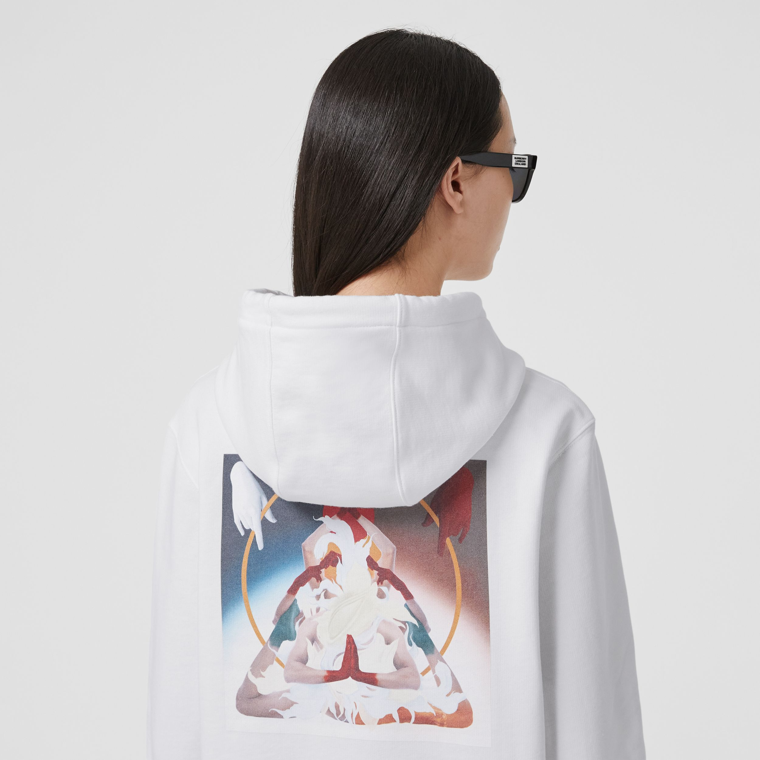 Meditation Print Cotton Oversized Hoodie in White - Women | Burberry - 2