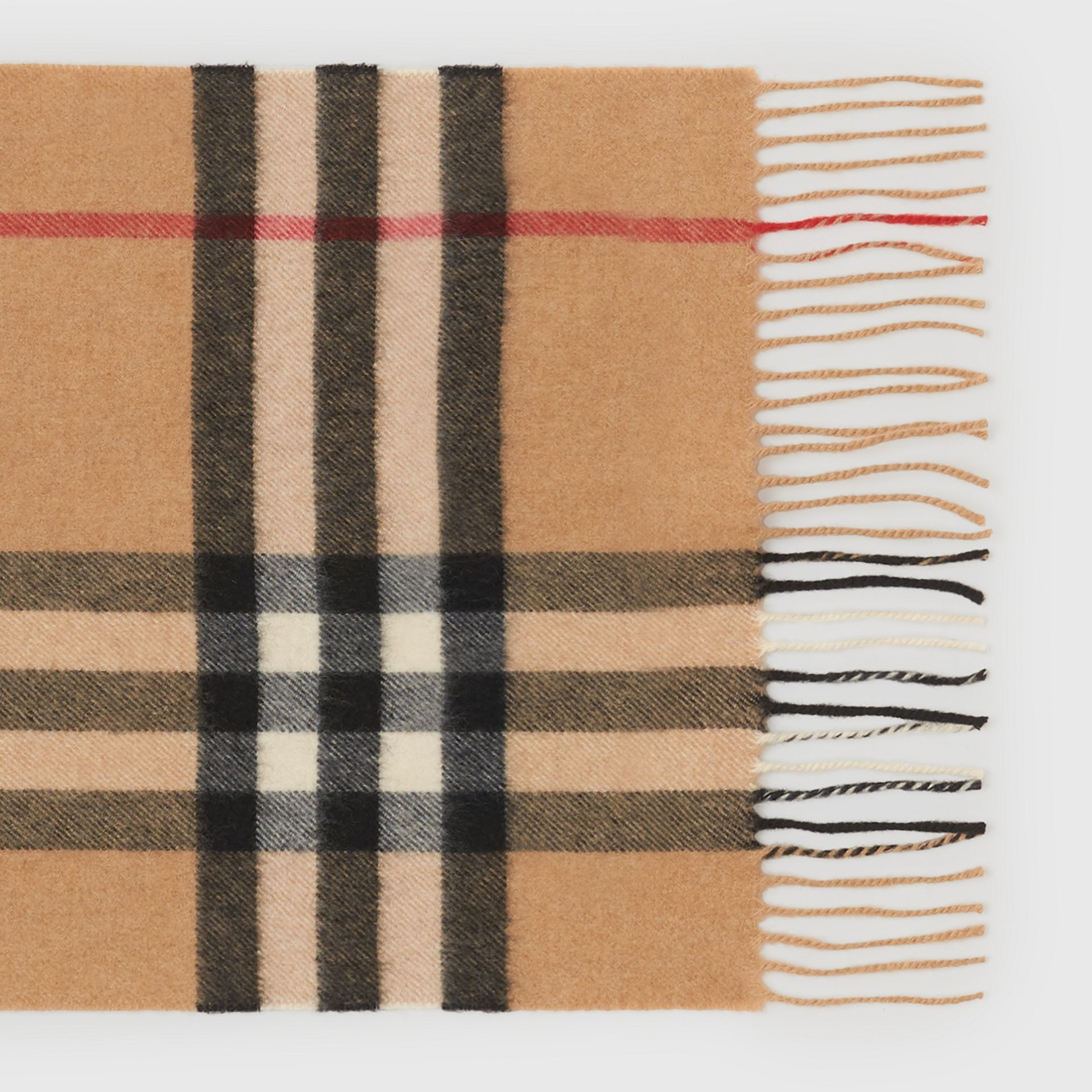 The Classic Check Cashmere Scarf in Camel | Burberry - gallery image 1