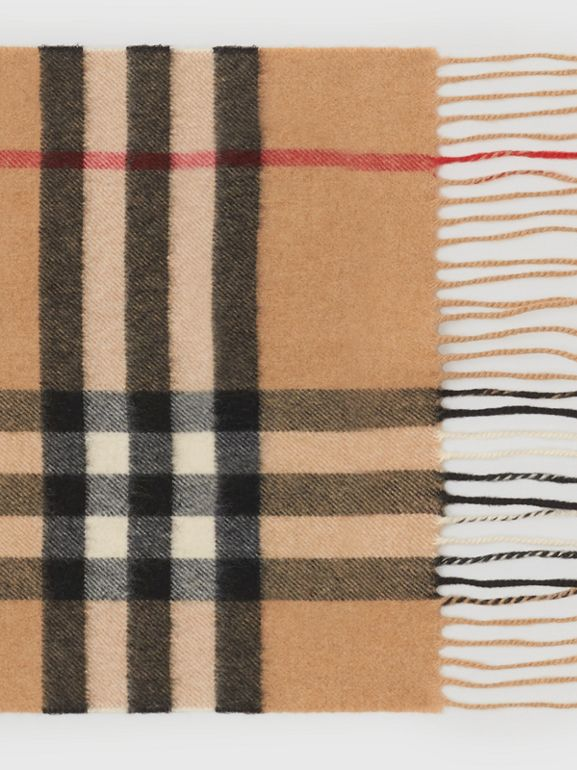 The Classic Check Cashmere Scarf in Camel | Burberry United States - cell image 1