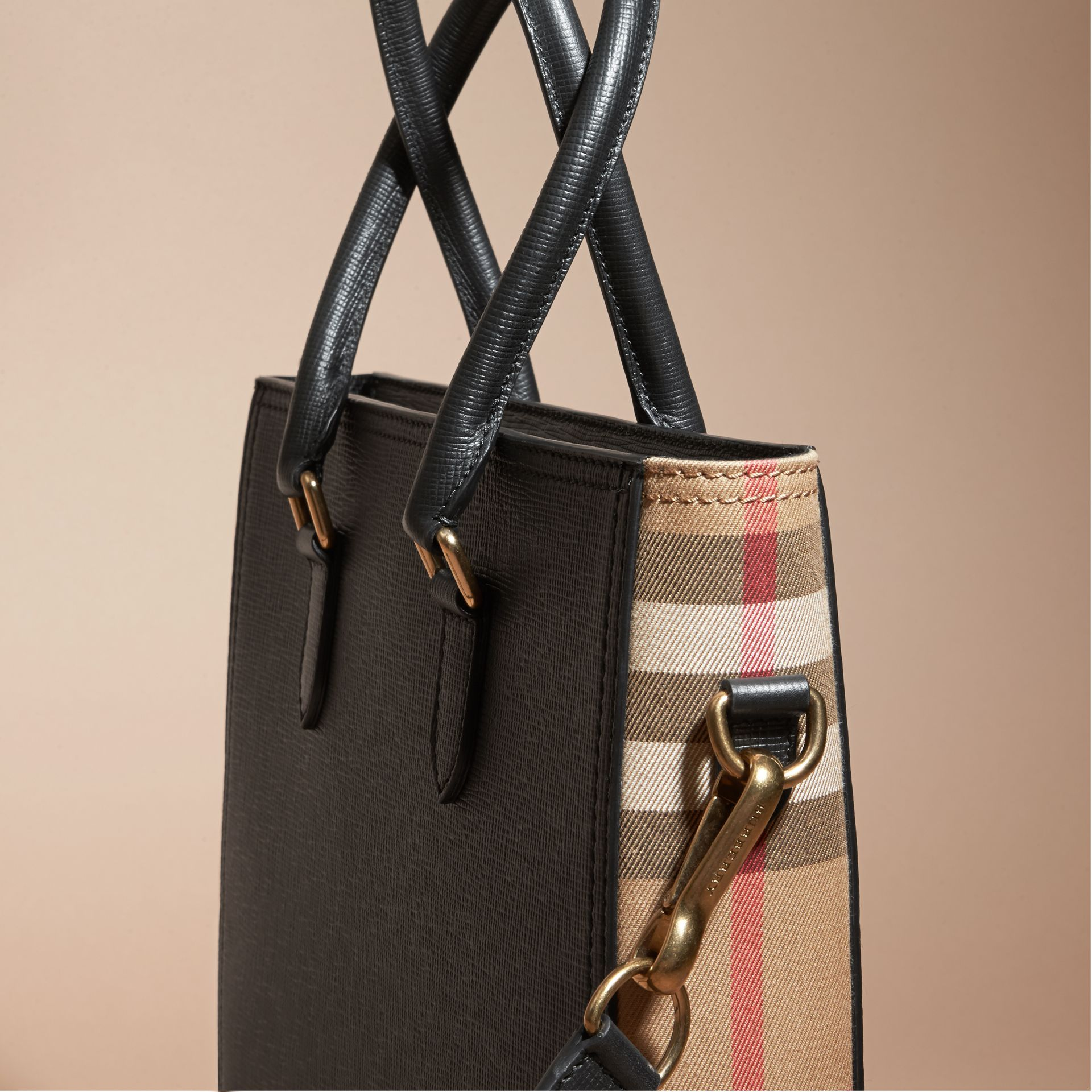 Black London Leather and House Check Tote Bag - gallery image 2