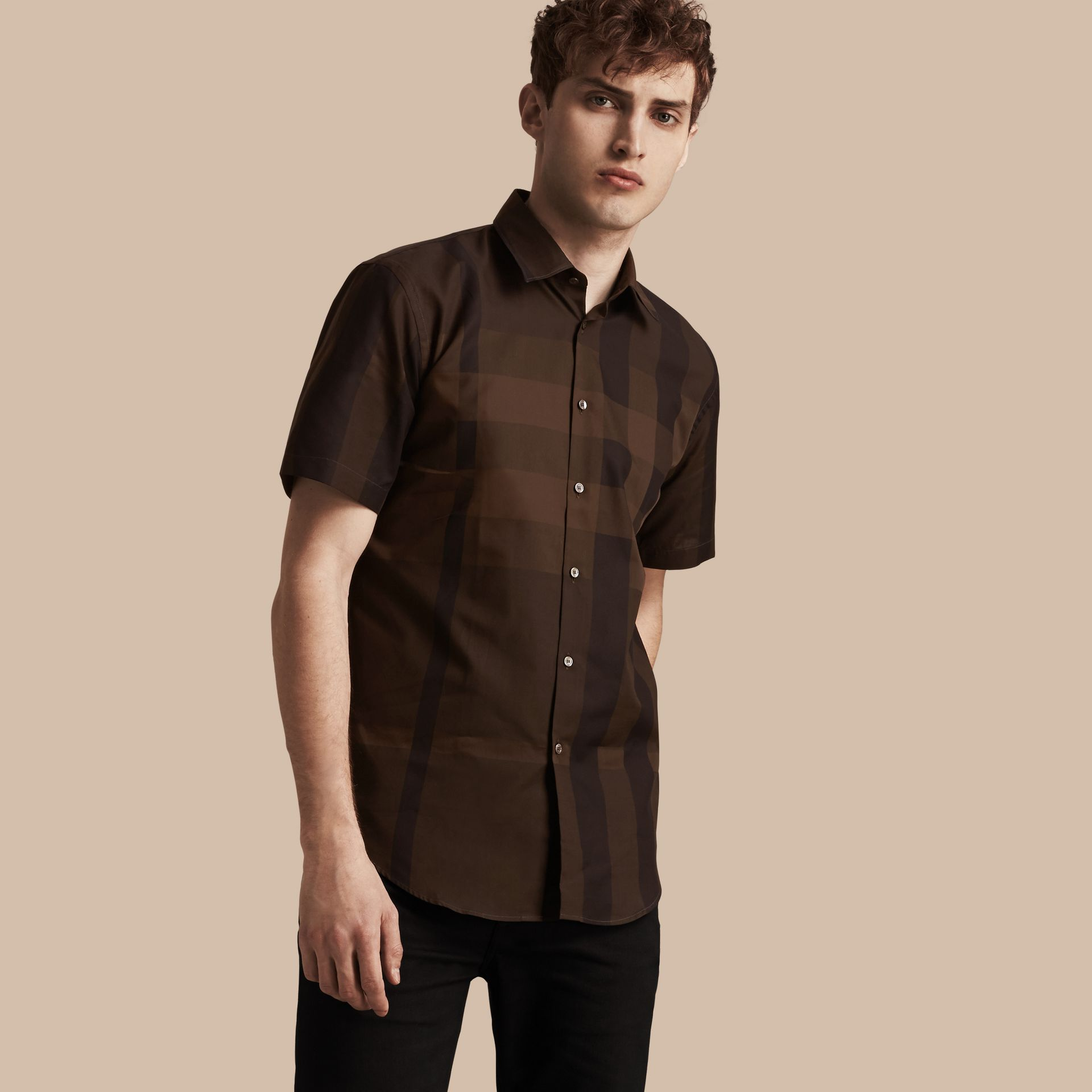 Chocolate check Short-sleeved Check Cotton Shirt Chocolate - gallery image 1
