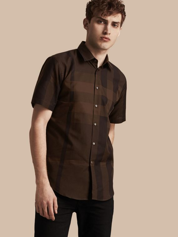 Short-sleeved Check Cotton Shirt Chocolate