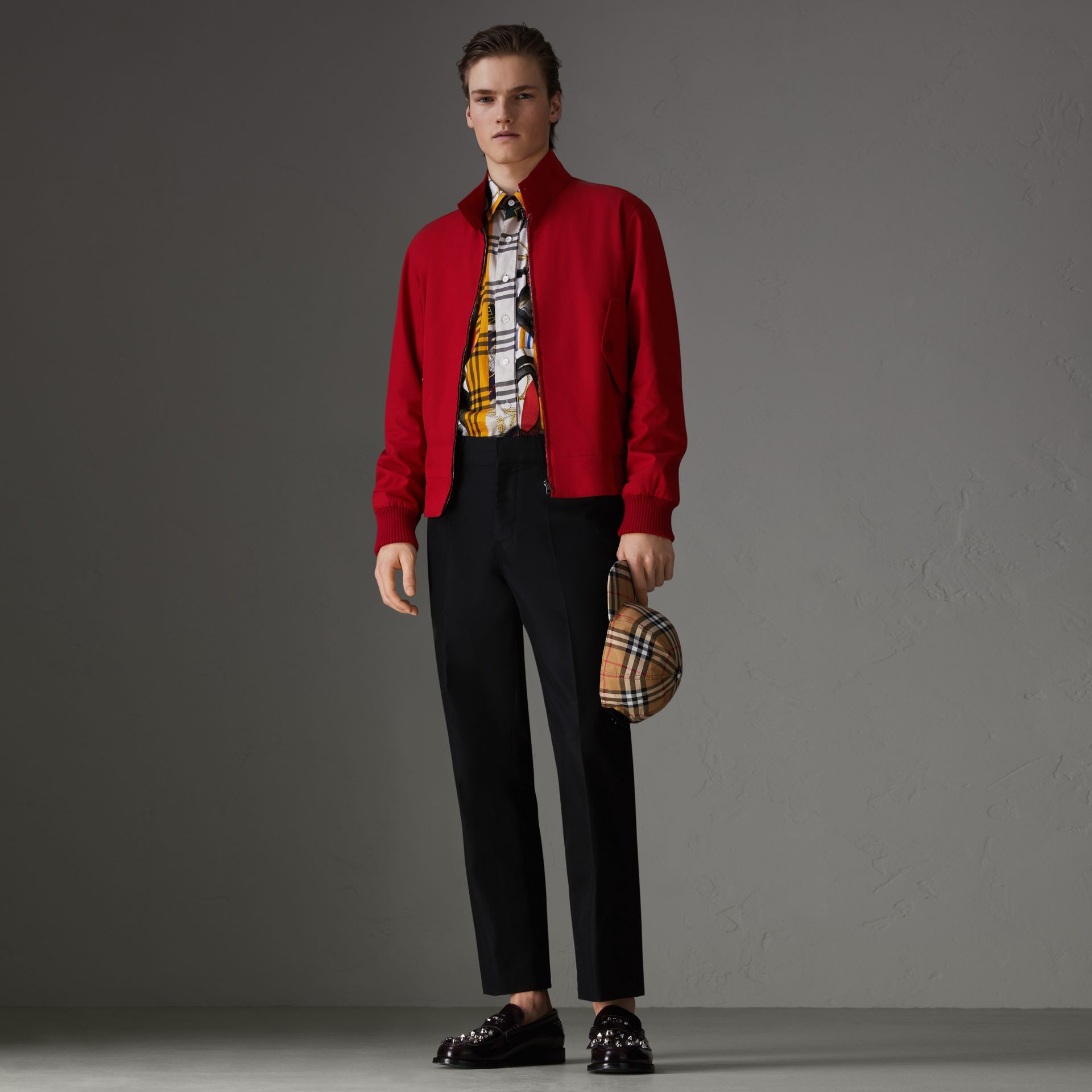 Slim Fit Tropical Gabardine Harrington Jacket in Bright Red - Men | Burberry - gallery image 0