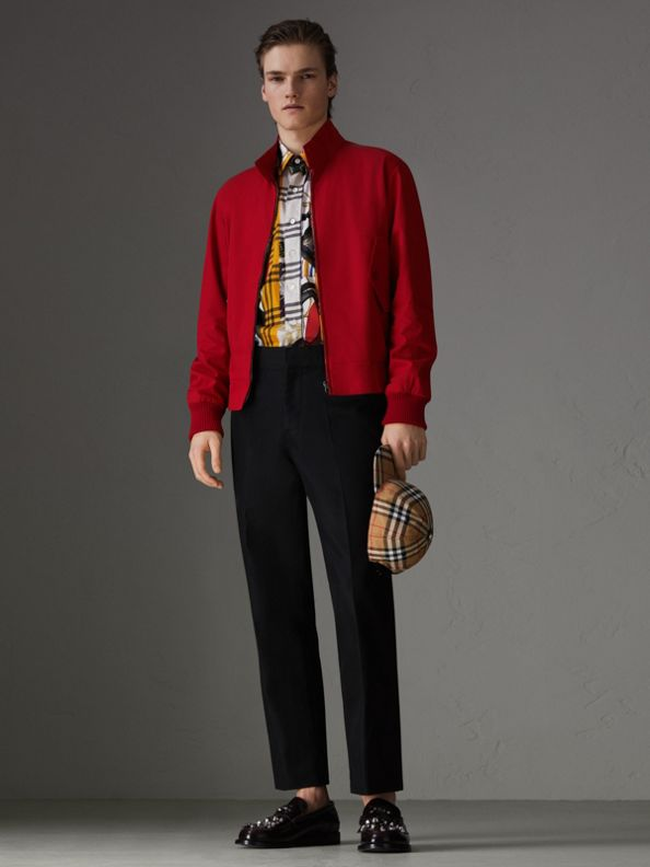 Giacca Harrington aderente in gabardine tropicale (Rosso Acceso)