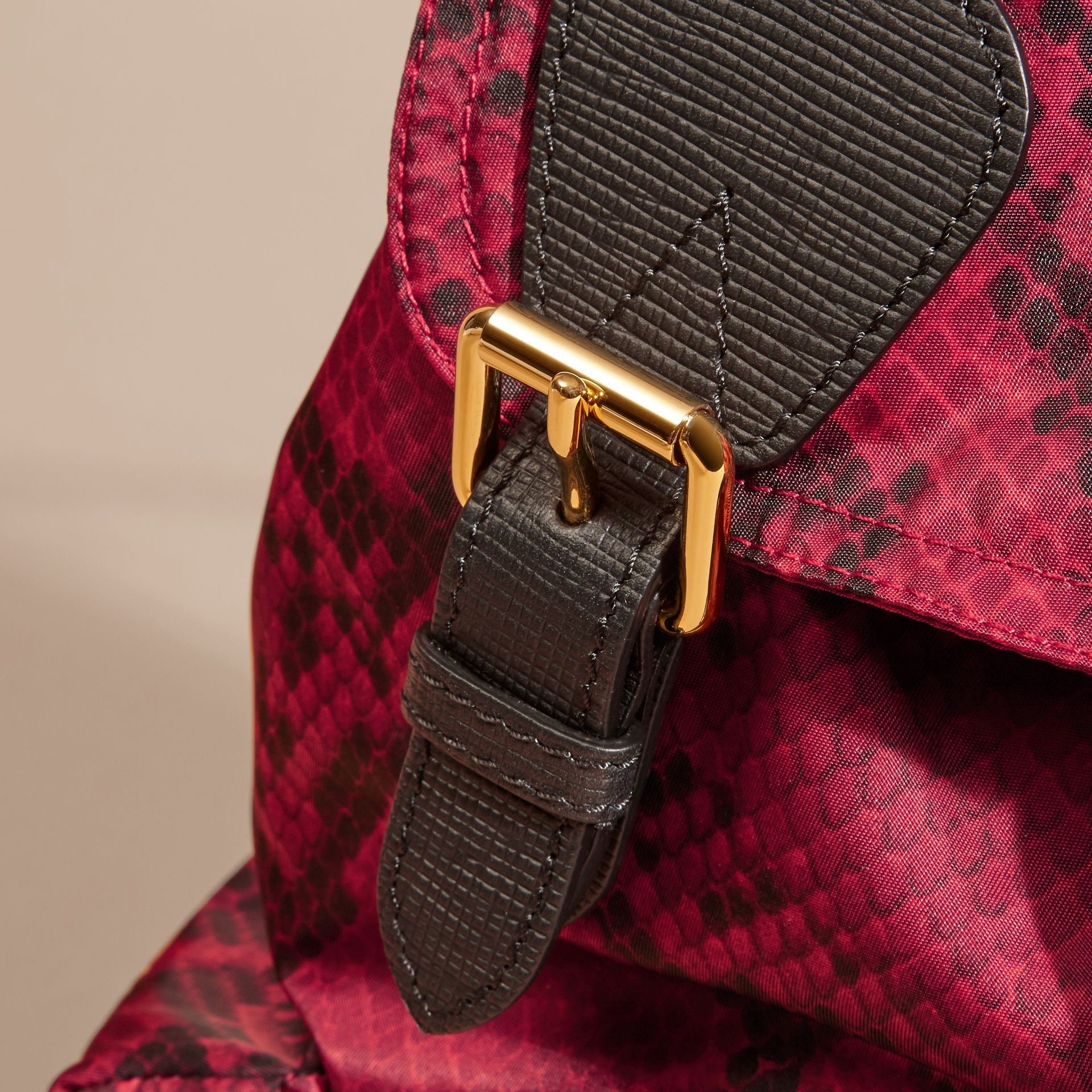 The Medium Rucksack in Python Print Nylon and Leather Burgundy Red - gallery image 2