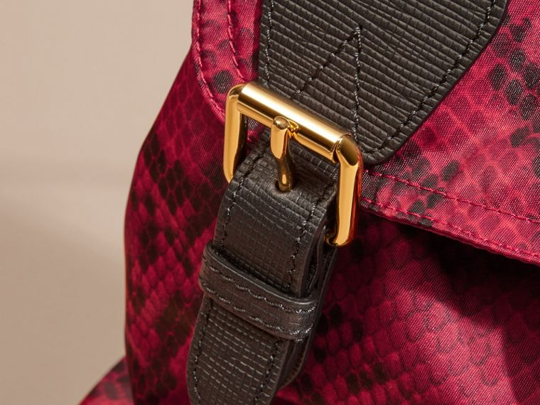 The Medium Rucksack in Python Print Nylon and Leather Burgundy Red - cell image 1