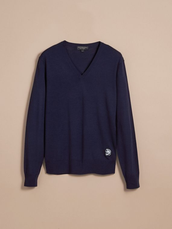 Pallas Helmet Motif Merino Wool V-neck Sweater in Navy - Men | Burberry - cell image 3