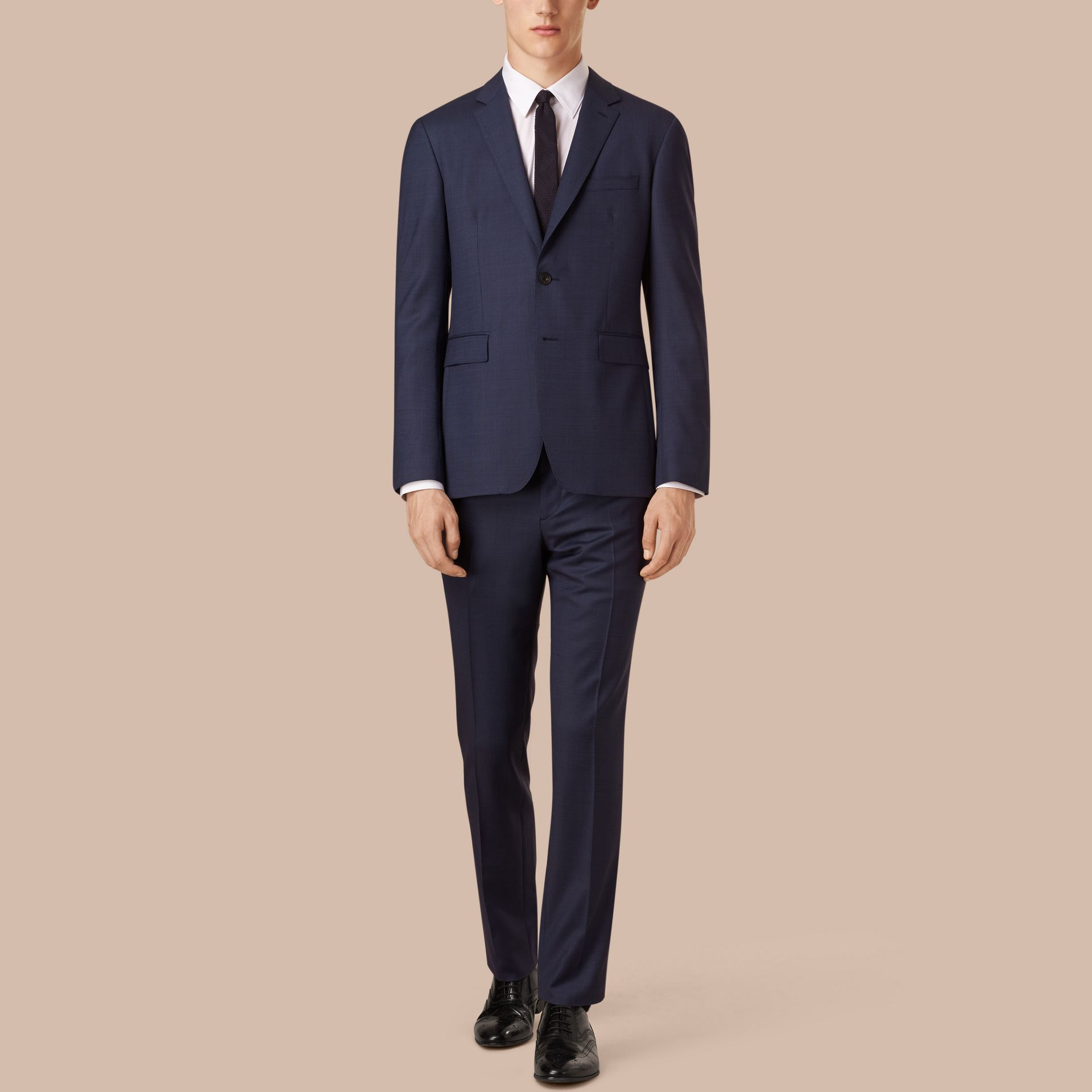 Navy Slim Fit Wool Travel Tailoring Suit - gallery image 1