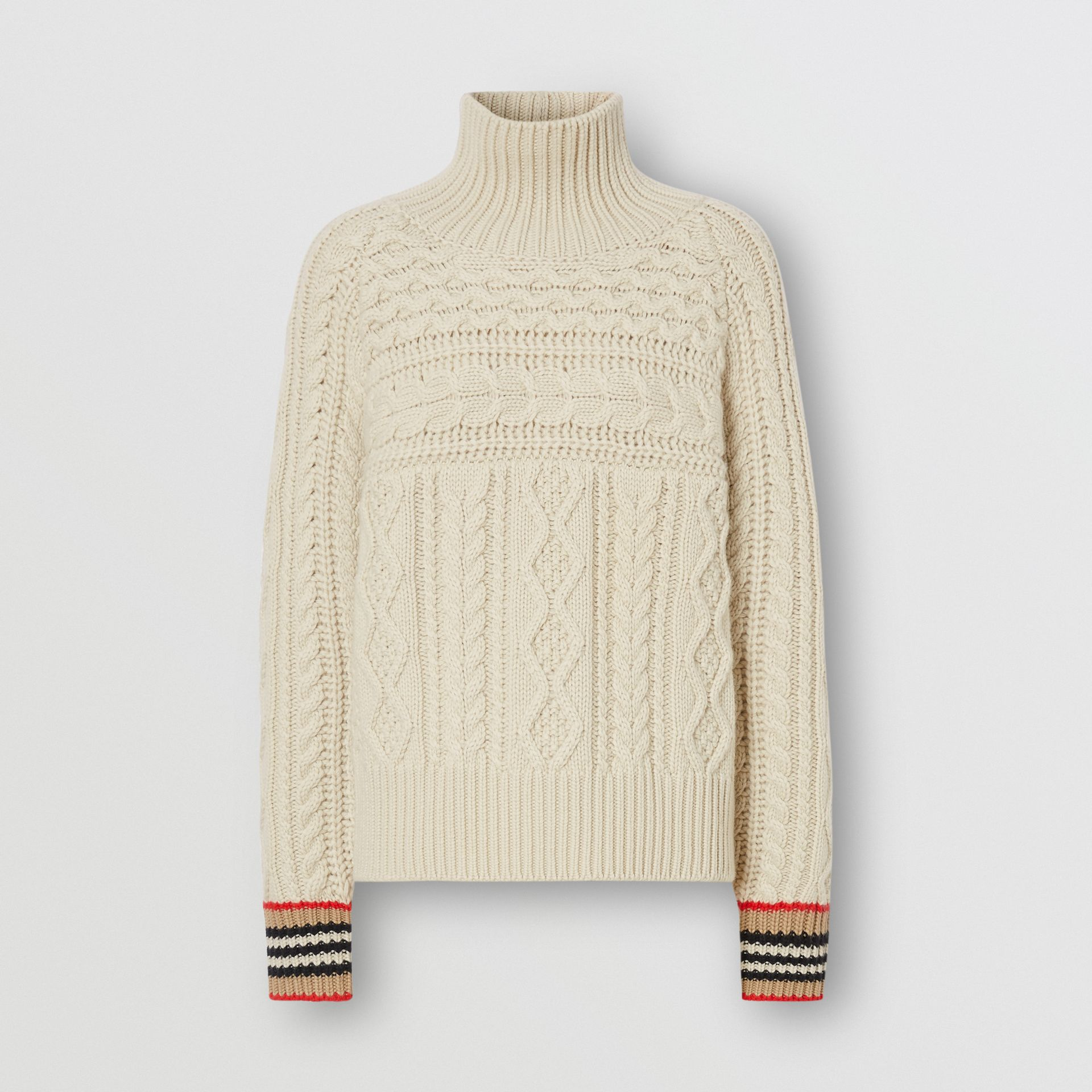 Icon Stripe Cuff Cable Knit Cashmere Sweater in Natural White - Women | Burberry - gallery image 3