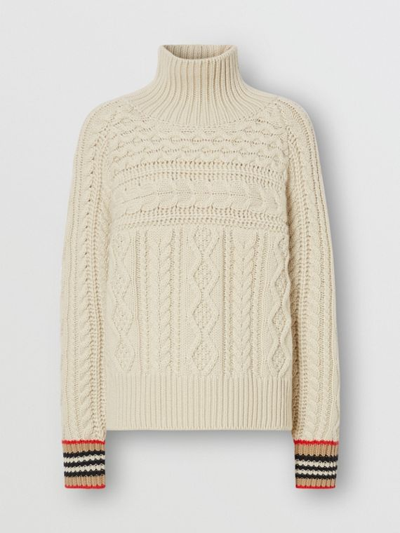 Icon Stripe Cuff Cable Knit Cashmere Sweater in Natural White
