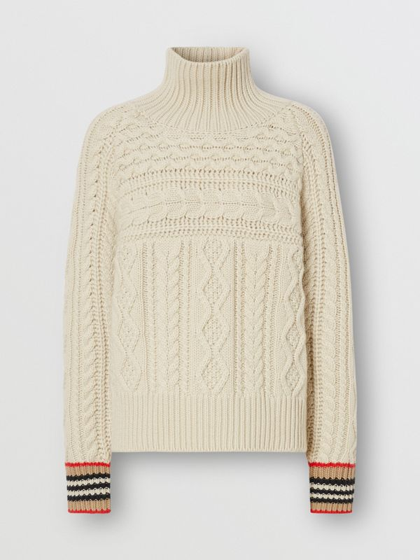 Icon Stripe Cuff Cable Knit Cashmere Sweater in Natural White - Women | Burberry - cell image 3