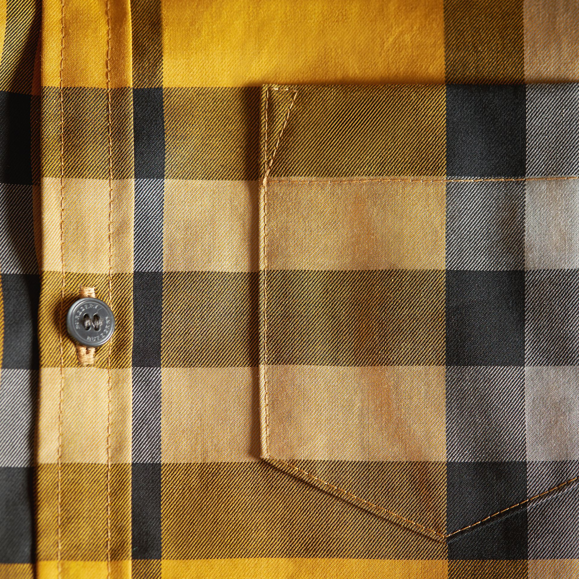 Check Cotton Button-Down Shirt in Saffron Yellow - Boy | Burberry - gallery image 2