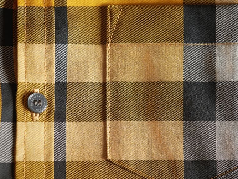 Check Cotton Button-Down Shirt in Saffron Yellow - Boy | Burberry United Kingdom - cell image 1