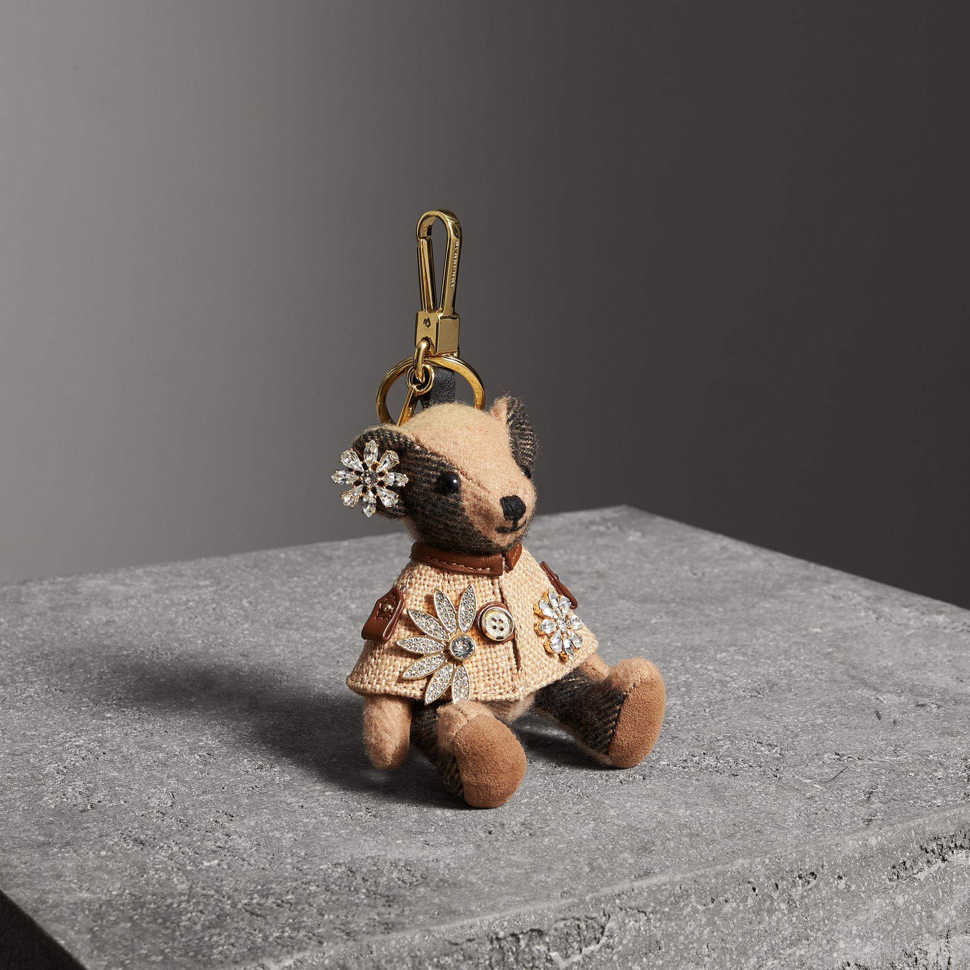 Thomas Bear Charm in Cape with Crystals in Camel | Burberry United Kingdom - gallery image 0