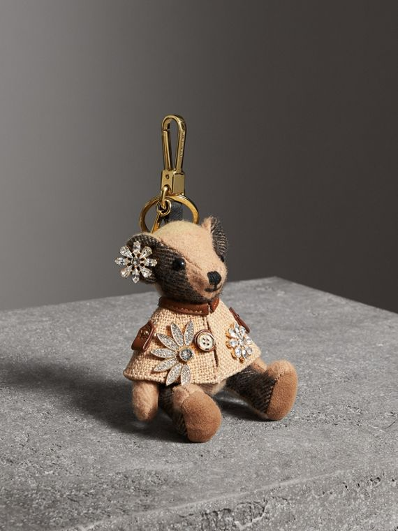Thomas Bear Charm in Cape with Crystals in Camel