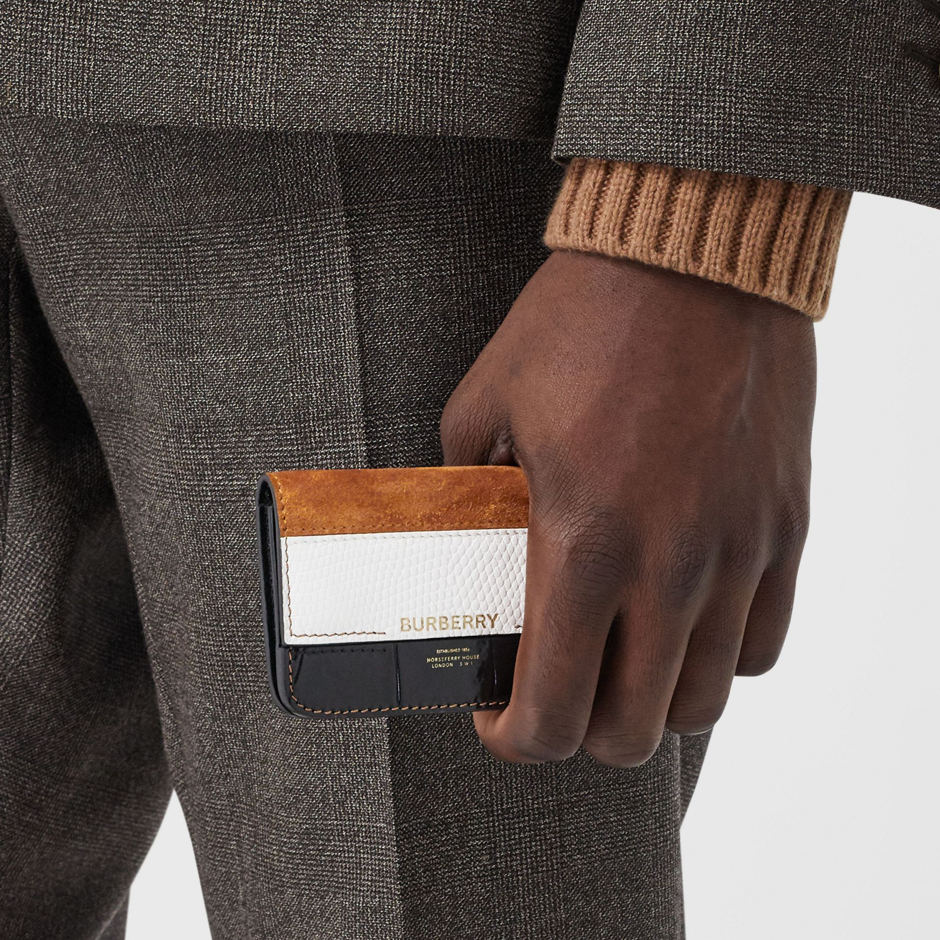 Suede and Leather Card Case with Detachable Strap in White/maple/black - Women | Burberry - gallery image 2