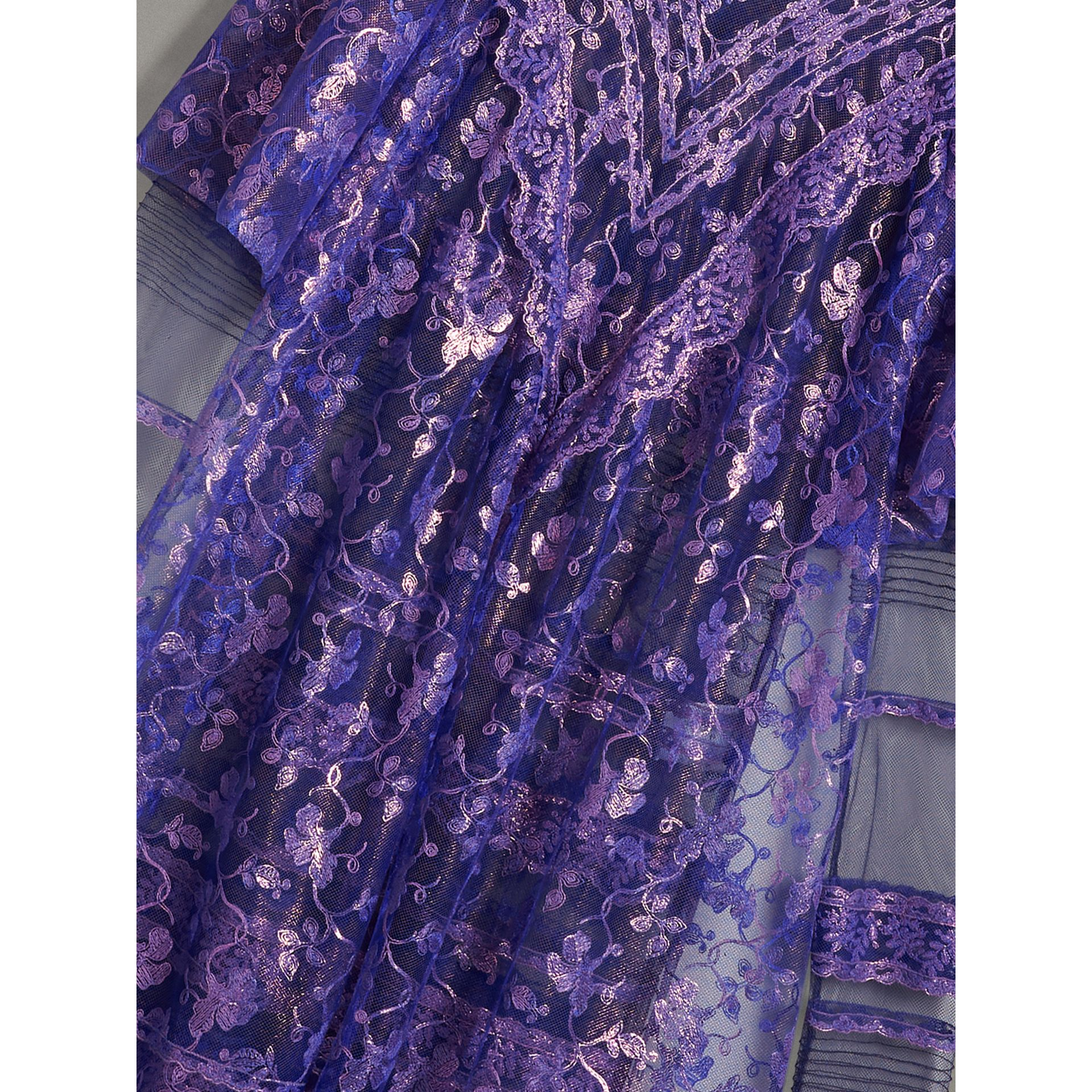 Laminated Lace Cape Sleeve Dress in Bright Purple - Women | Burberry - gallery image 1