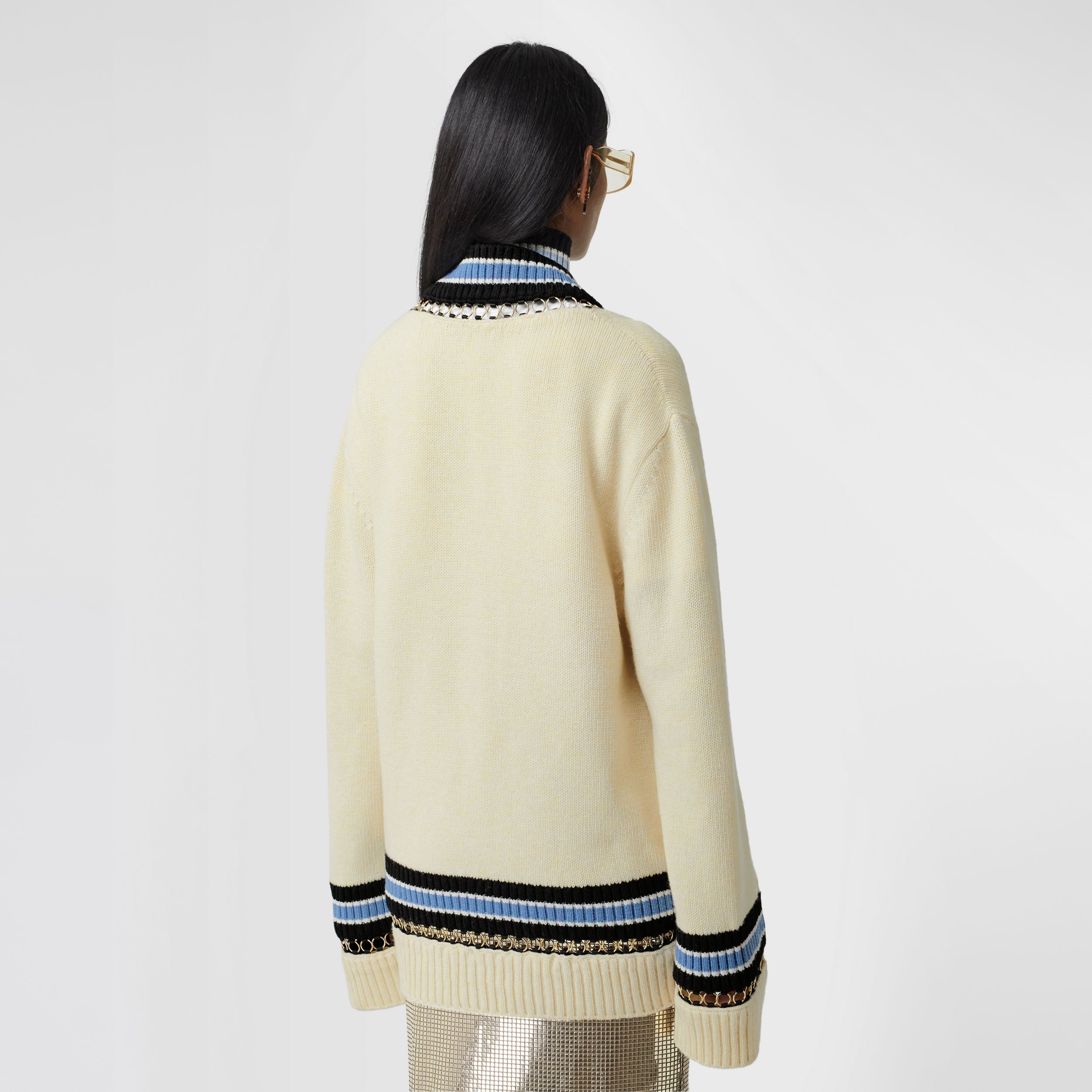 Ring-pierced Wool Oversized Cricket Sweater in White - Women | Burberry - 3