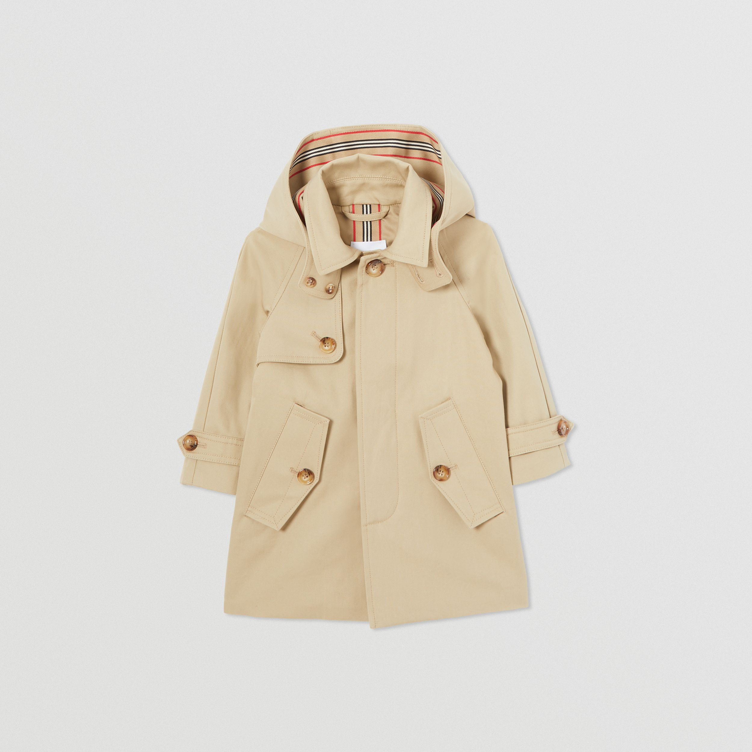 Detachable Hood Icon Stripe Trim Cotton Car Coat in Honey - Children | Burberry - 1