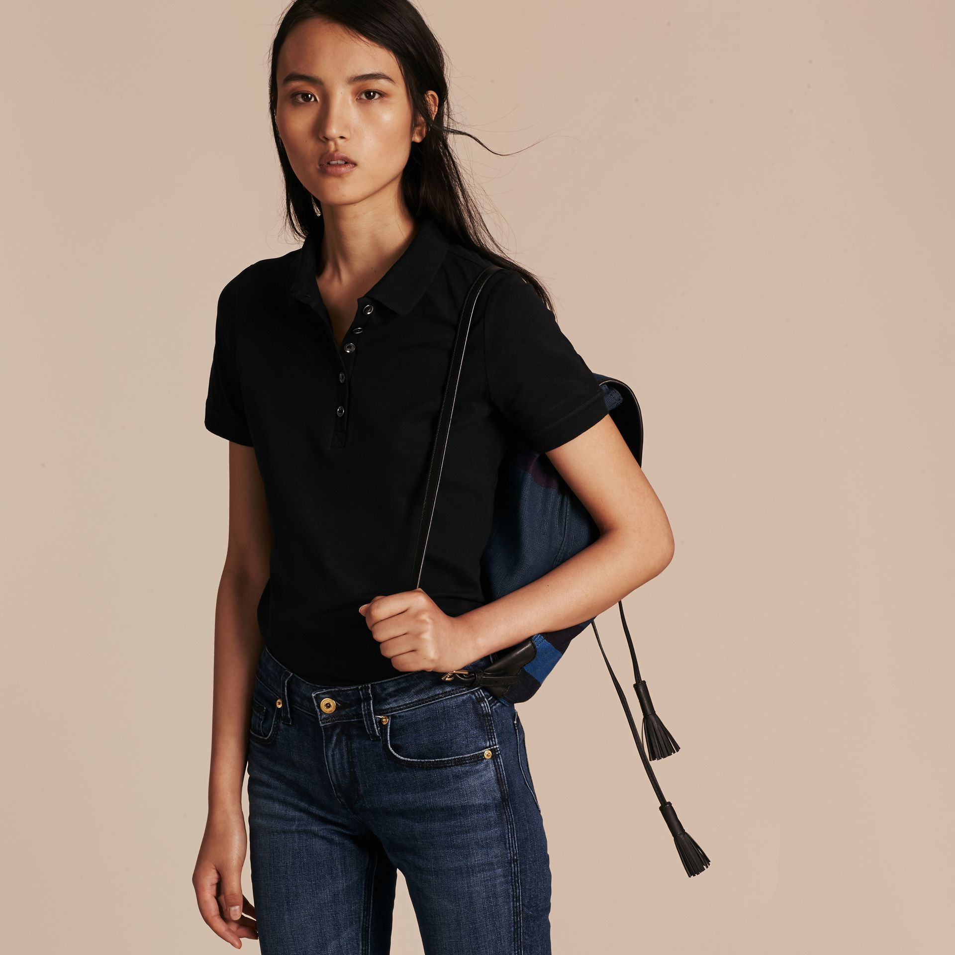 Check Trim Stretch Cotton Piqué Polo Shirt in Black - Women | Burberry - gallery image 5