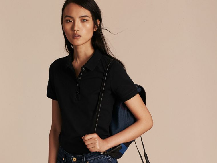 Check Trim Stretch Cotton Piqué Polo Shirt in Black - Women | Burberry Singapore - cell image 4