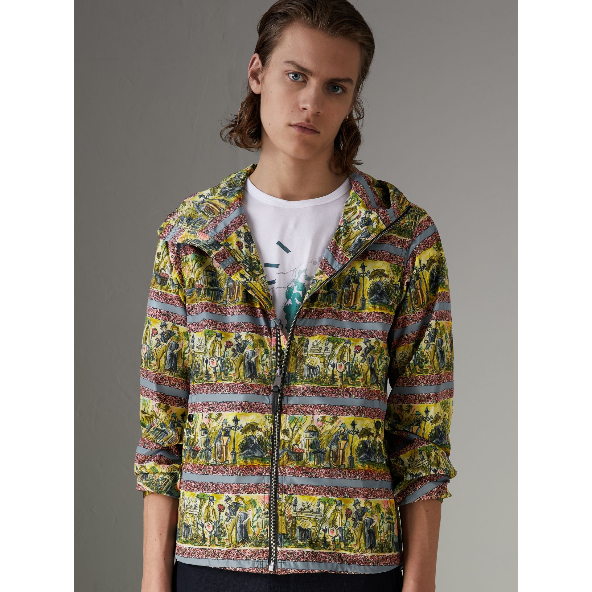 Figurative Print Lightweight Technical Hooded Jacket in Turquoise Green - Men | Burberry - gallery image 4