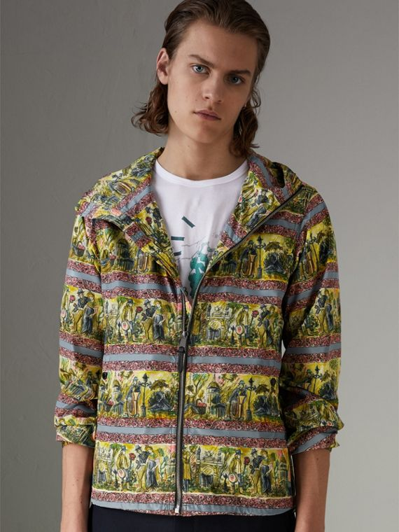 Figurative Print Lightweight Technical Hooded Jacket in Turquoise Green