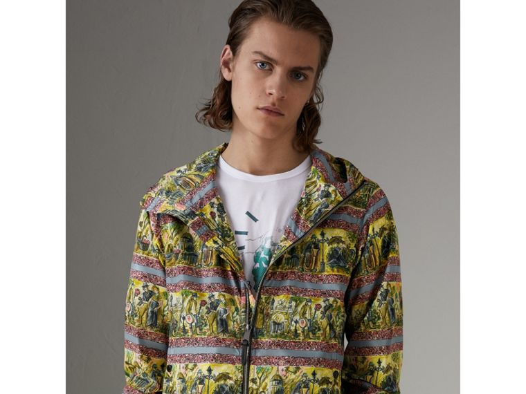Figurative Print Lightweight Technical Hooded Jacket in Turquoise Green - Men | Burberry - cell image 4