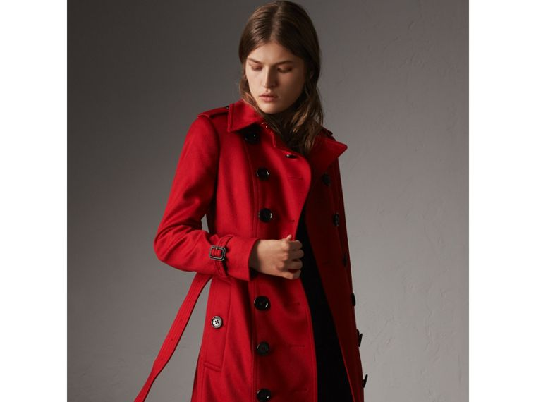 Sandringham Fit Cashmere Trench Coat in Parade Red - Women | Burberry - cell image 4