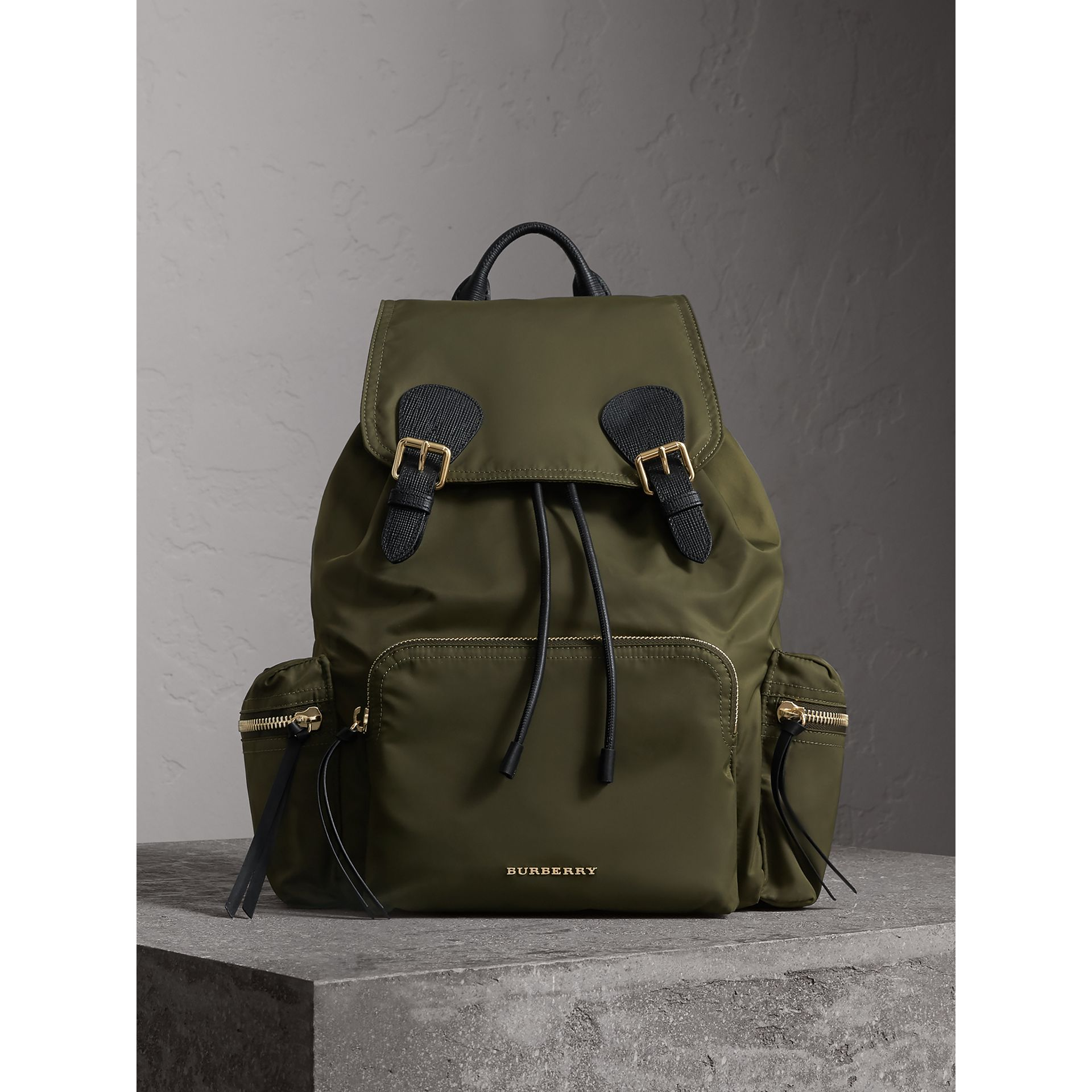 The Large Rucksack in Technical Nylon and Leather in Canvas Green - gallery image 1