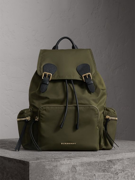 The Large Rucksack in Technical Nylon and Leather in Canvas Green - Women | Burberry