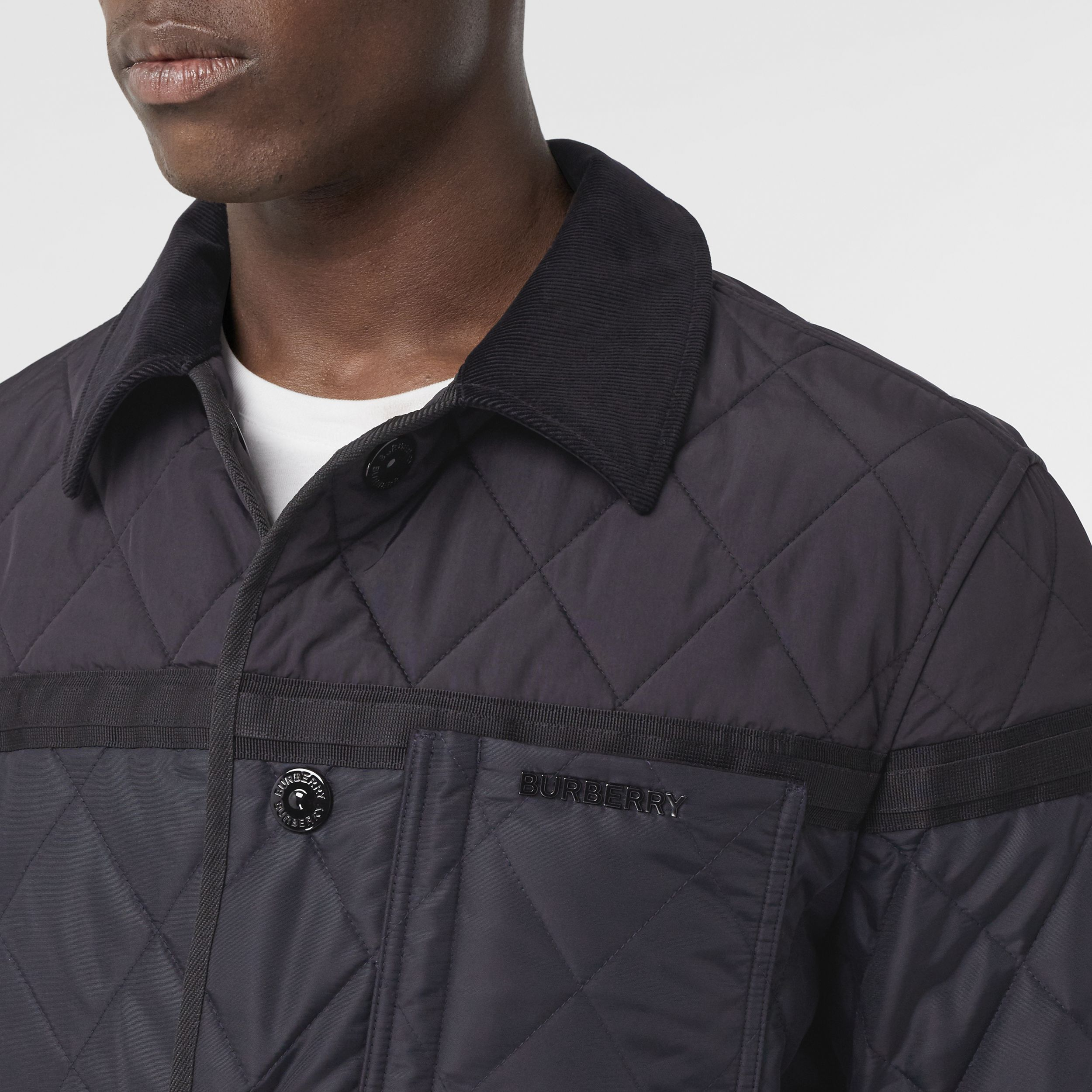 Diamond Quilted Nylon Canvas Barn Jacket in Navy - Men | Burberry - 2