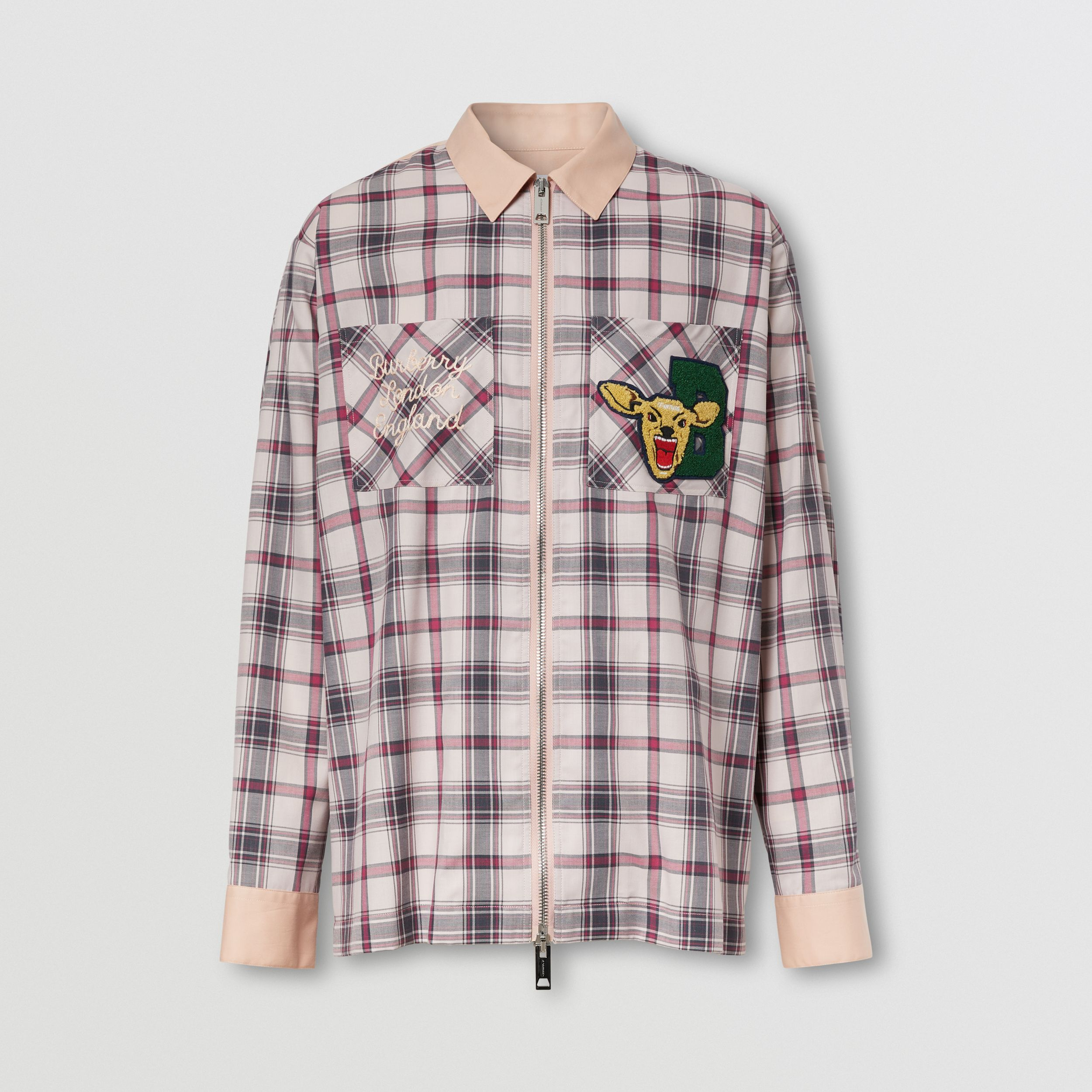 Varsity Graphic Check Technical Cotton Overshirt in Frosted Pink - Men | Burberry - 4