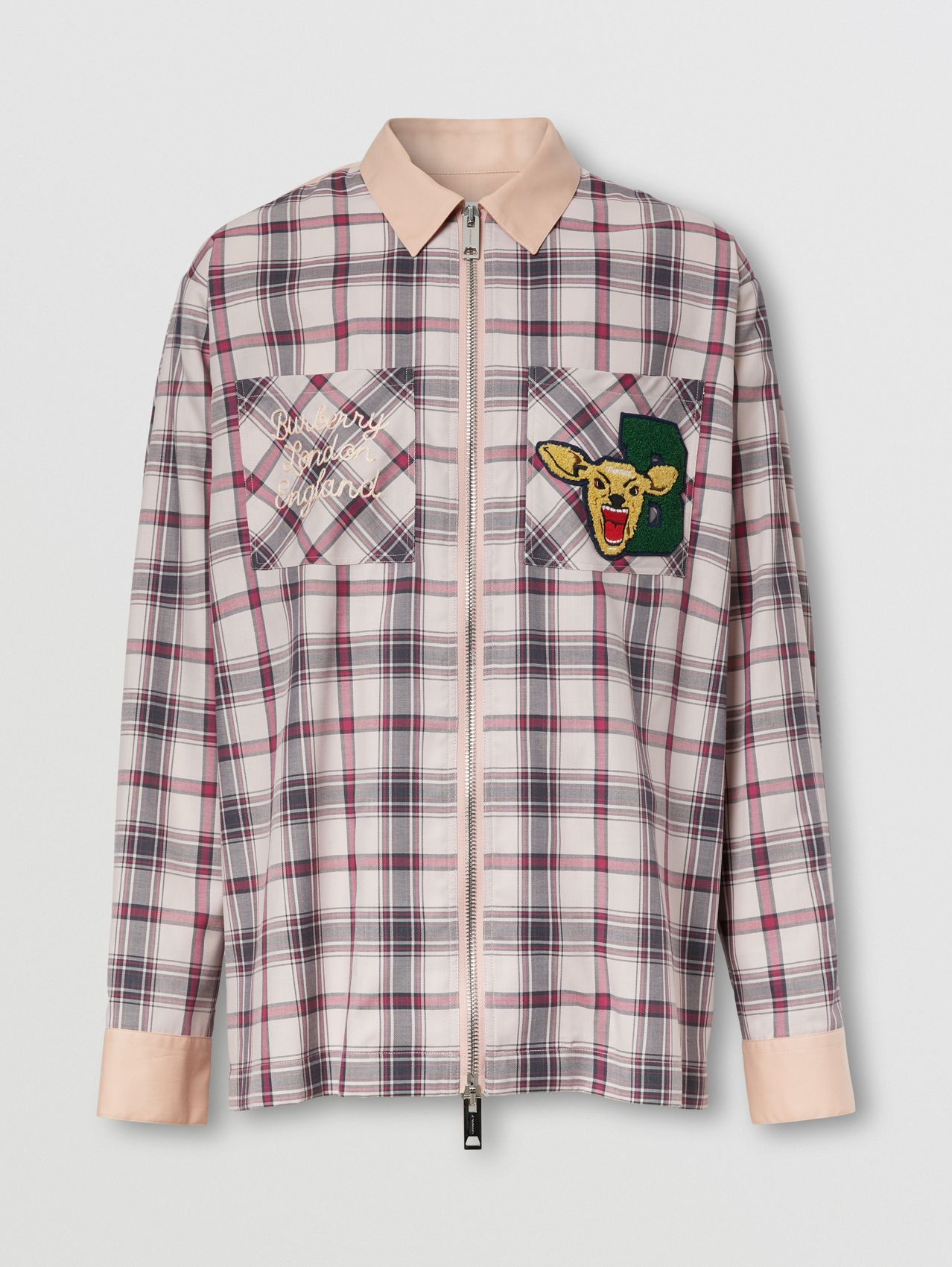 Varsity Graphic Check Technical Cotton Overshirt in Frosted Pink