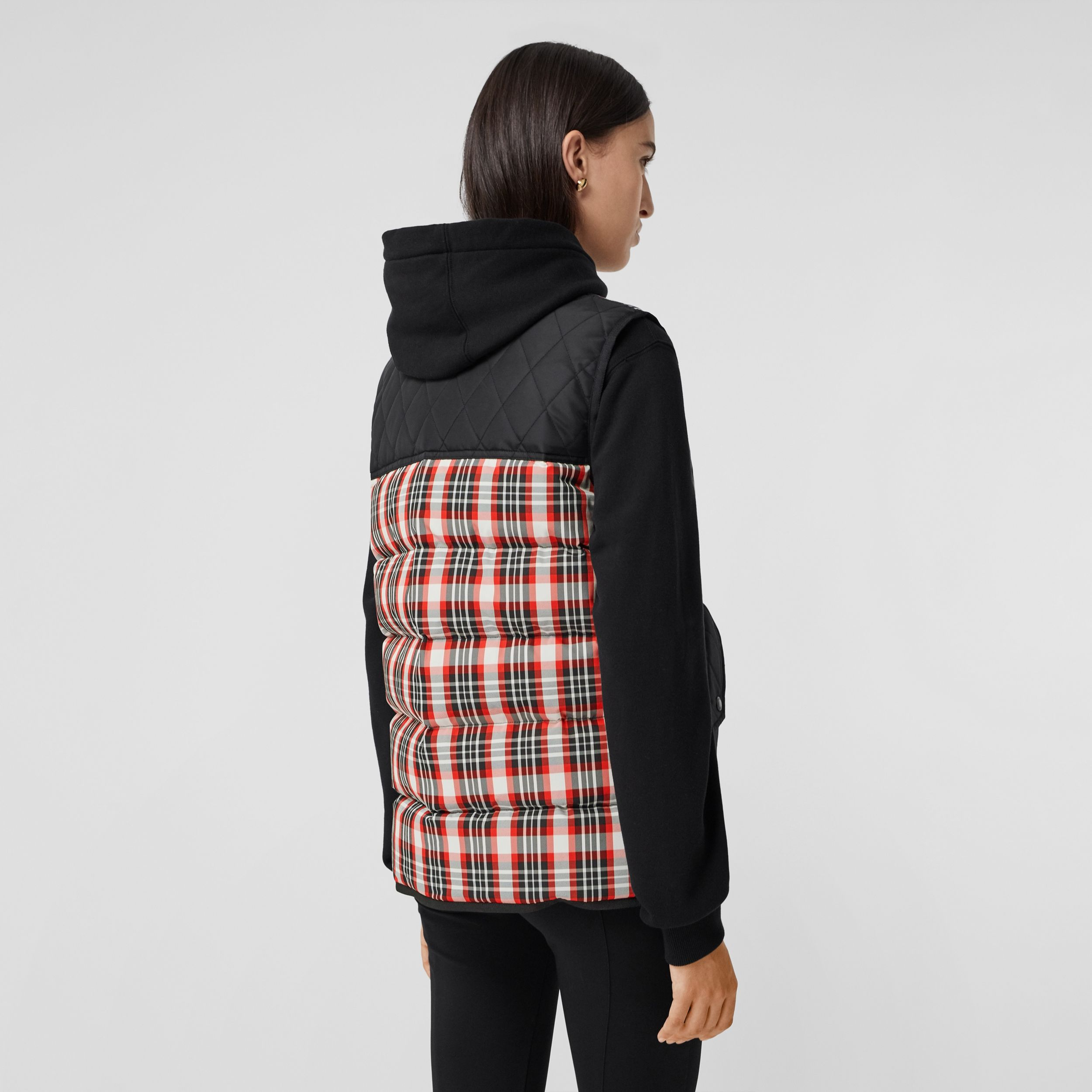 Diamond Quilted Panel Tartan Puffer Gilet in Bright Red - Women | Burberry - 3