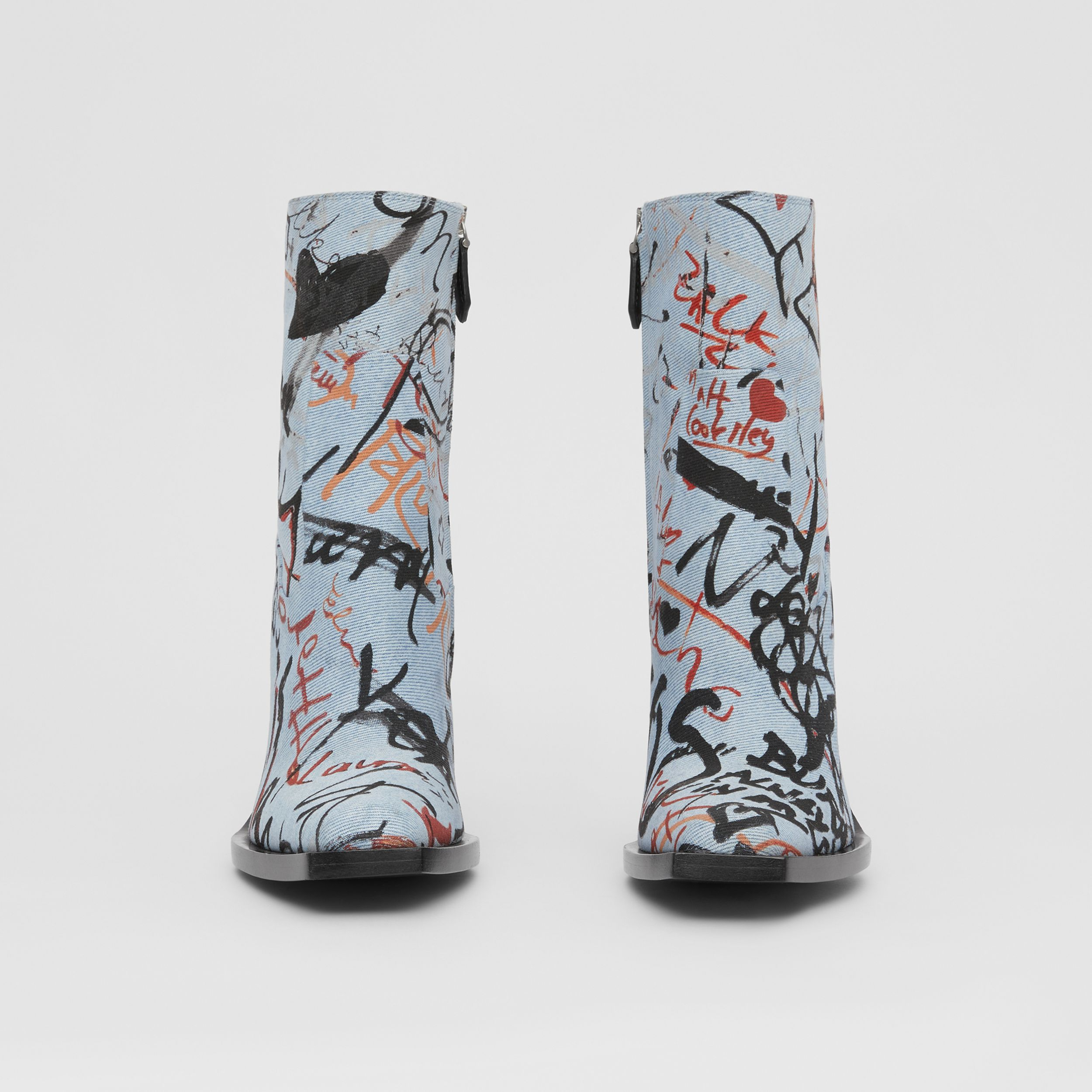 Graffiti Print Denim Block-heel Ankle Boots in Multicolour - Women | Burberry - 3