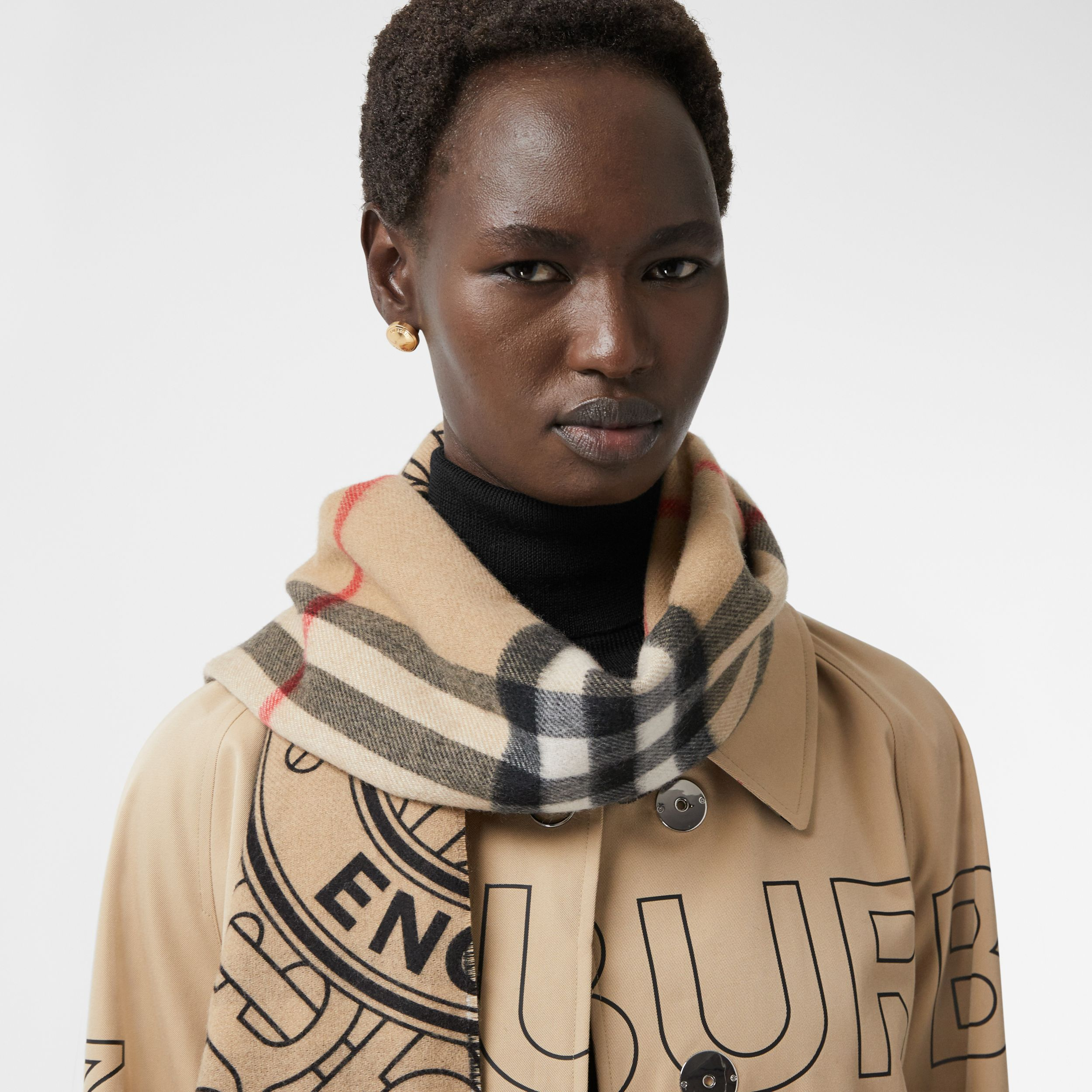 Reversible Check and Monogram Cashmere Scarf in Archive Beige | Burberry Singapore - 3