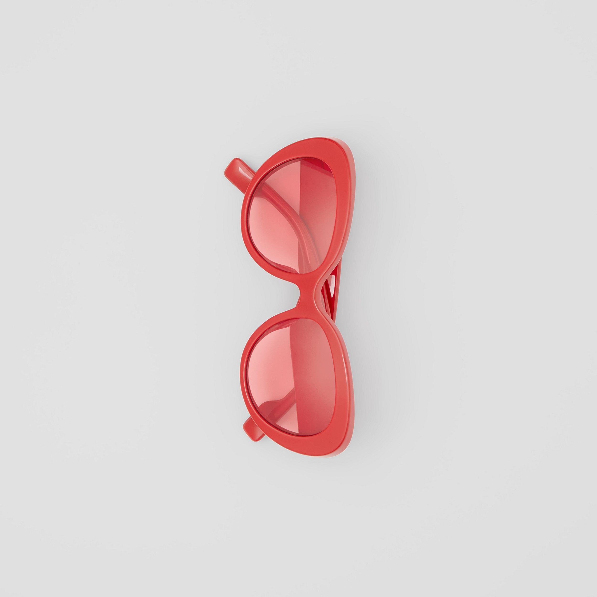 Monogram Motif Cat-eye Frame Sunglasses in Red - Women | Burberry Australia - 4