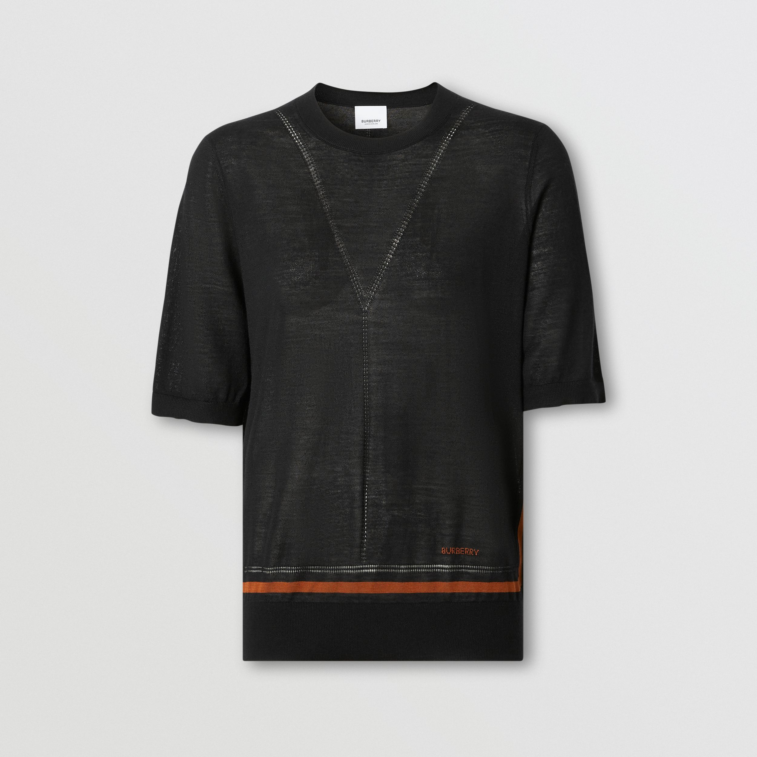 Short-sleeve Logo Intarsia Wool Silk Cashmere Top in Black - Women | Burberry - 4