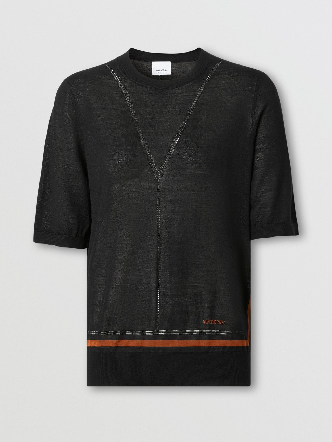 Short-sleeve Logo Intarsia Wool Silk Cashmere Top in Black